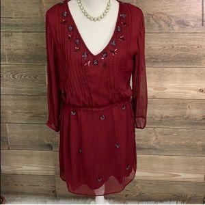 HD in PARIS Dress Cranberry Beaded Tie Waist Small